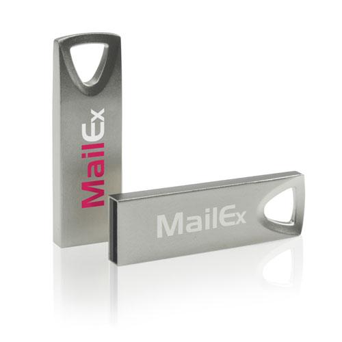 Chiavetta USB Bell, in metallo e ultra sottile. Personalizzata con stampa quadricromia o laser. Memoria da 2 a 16 gb