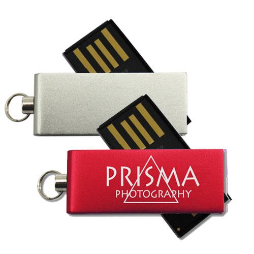 Chiavetta USB Micro in alluminio, color argento e colore rosso