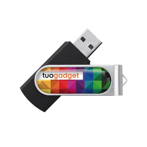 Chiavetta USB Standard Plus, in plastica e metallo, personalizzata con stampa quadricromia resinata. Memoria da 2 a 16 gb