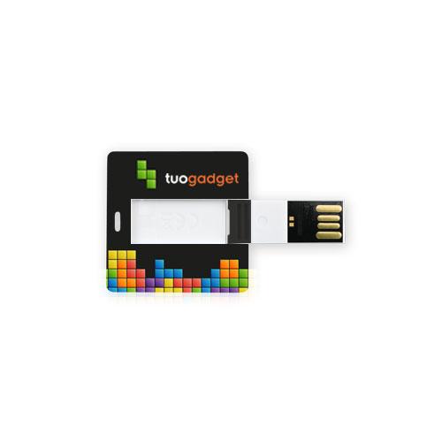 Chiavetta USB Card Square, sottile e compatta, forma quadrata, stampata fronte e retro. Memoria da 2 a 16 gb