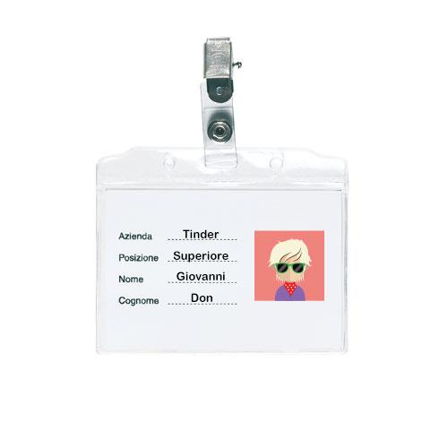 Porta Badge Clip in pvc trasparente con clip di fissaggio, personalizzabile con stampa