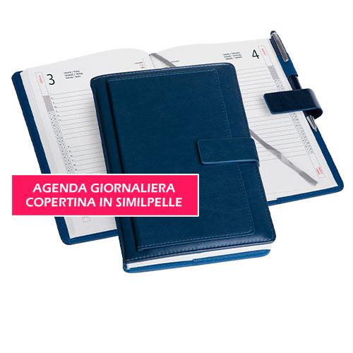 Agenda giornaliera in similpelle Business, anno 2020, personalizzata o neutra, colore blu, pagine interne