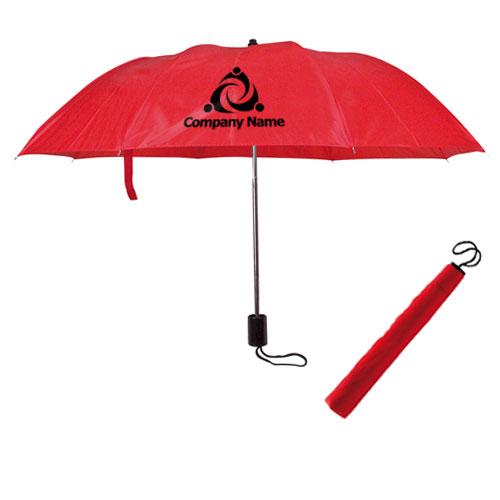 Ombrello pieghevole basic, colore rosso, personalizzato con logo