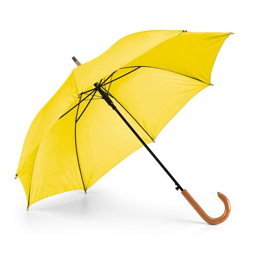 Ombrello automatico con manico in legno, giallo