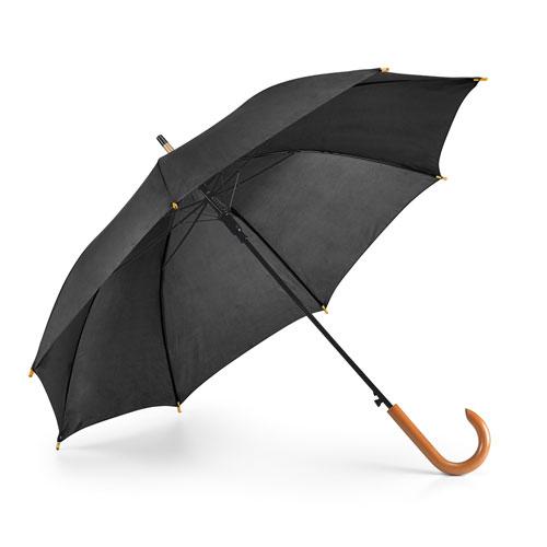 Ombrello automatico con manico in legno, nero