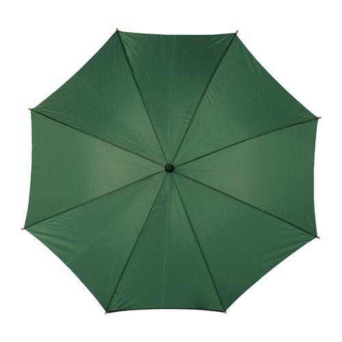 Ombrello automatico con manico in legno, verde scuro