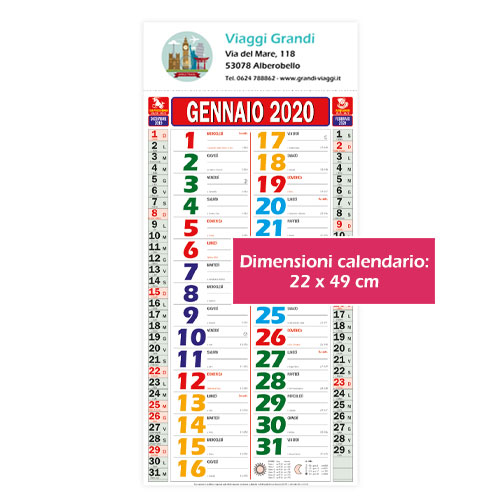 Calendario personalizzato o neutro multicolor, Calendario color 2020, dimensioni
