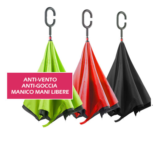 Ombrello Reverse, ombrello anti vento e anti goccia, con sistema mani libere