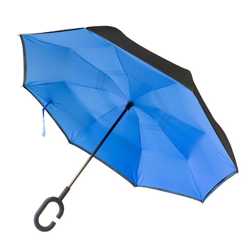 Ombrello Reverse, ombrello personalizzabile blu, immagine aperta