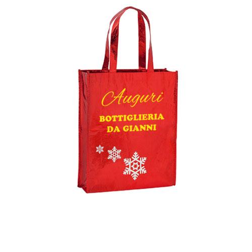 Borsa shopper Natale in TNT laminato, rosso, personalizzata
