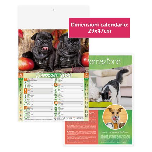 Calendario personalizzato o neutro con foto di cani e gatti, Calendario dogs & cats 2020, dimensioni