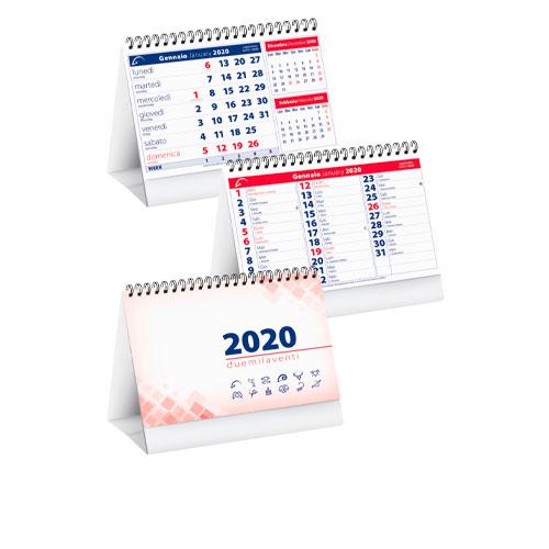 Calendario da tavolo personalizzato business, calendario 2020 disponibile neutro o personalizzato, rosso