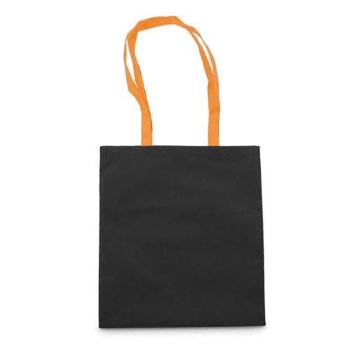 Borsa shopper personalizzata Cotton Black, in cotone con manici arancione