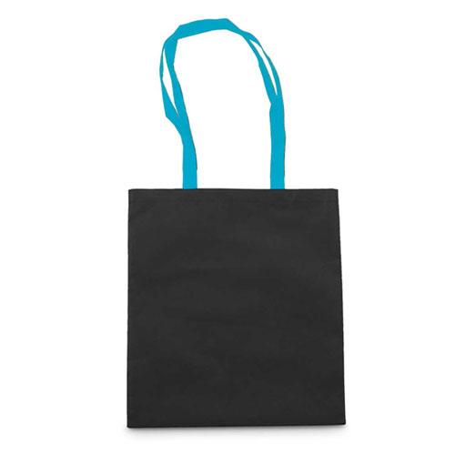 Borsa shopper personalizzata Cotton Black, in cotone con manici azzurri