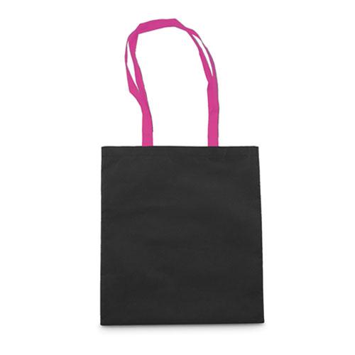 Borsa shopper personalizzata Cotton Black, in cotone con manici fucsia