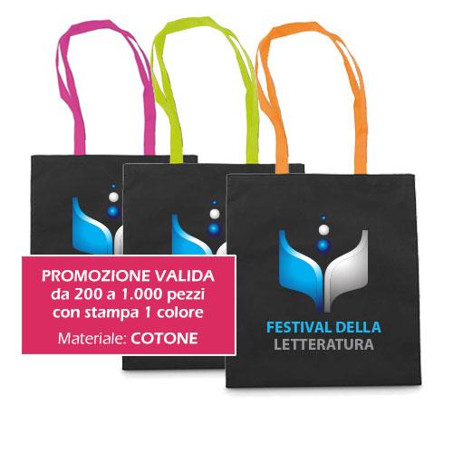 Borsa shopper personalizzata: Borsa Cotton Black, in cotone con manici fucsia, personalizzata con stampa in quadricromia, promo sconto