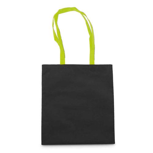 Borsa shopper personalizzata Cotton Black, in cotone con manici verde chiaro