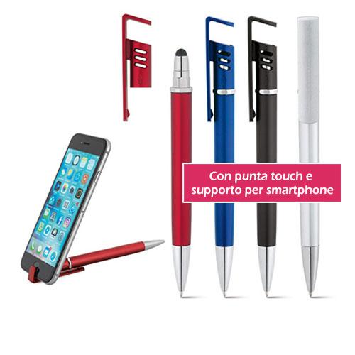 Penna personalizzata Stand, penna touch con supporto per smartphone