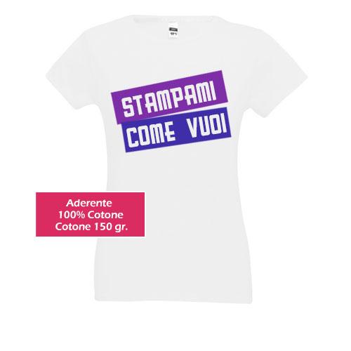 T-shirt personalizzata da donna, aderente, cotone 150gr.