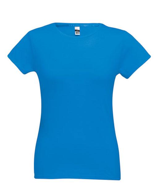 T-shirt da donna personalizzata, cotone 150 gr., colorata azzurro