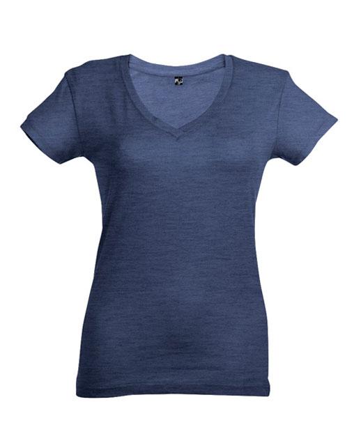 T-shirt collo a V donna personalizzata, blu melange