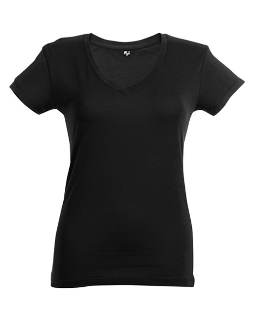 T-shirt collo a V donna personalizzata, nero