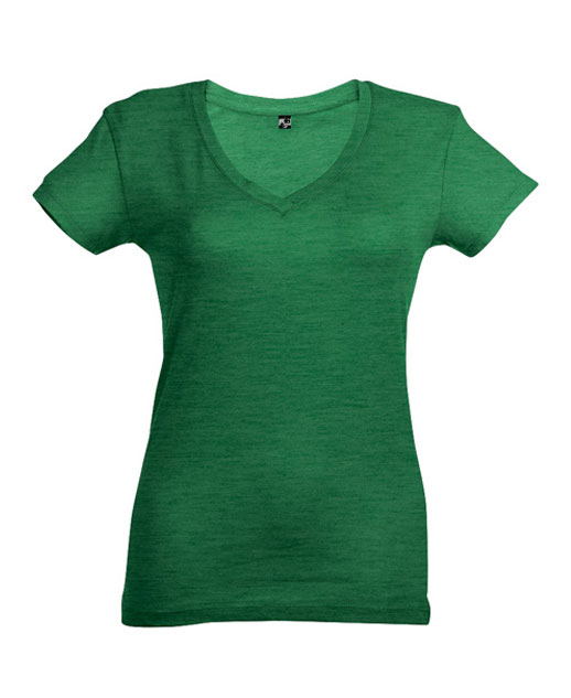 T-shirt collo a V donna personalizzata, verde melange