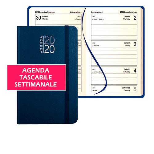 Agenda tascabile personalizzata Molly, Agenda settimanale anno 2020, personalizzata o neutra, colore blu, pagine aperte