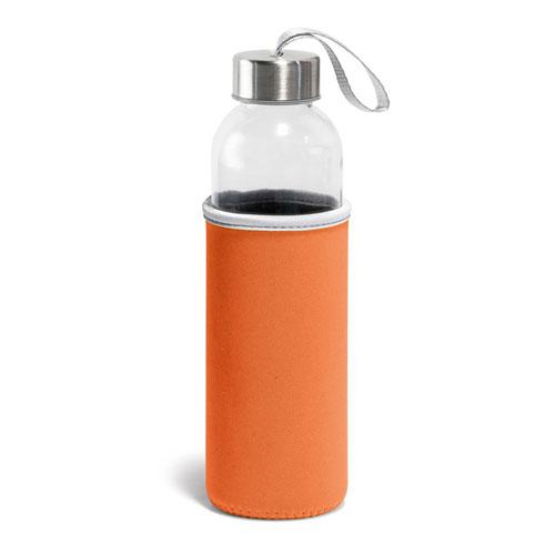 Borraccia Glassy, borraccia in vetro con fascia protettiva disponibile neutra o personalizzata, colore arancione
