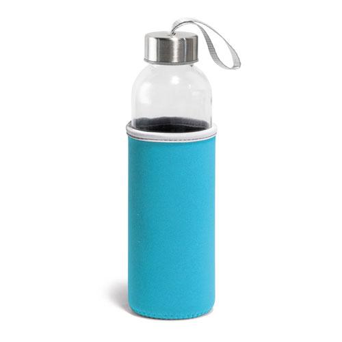 Borraccia Glassy, borraccia in vetro con fascia protettiva disponibile neutra o personalizzata, colore azzurro