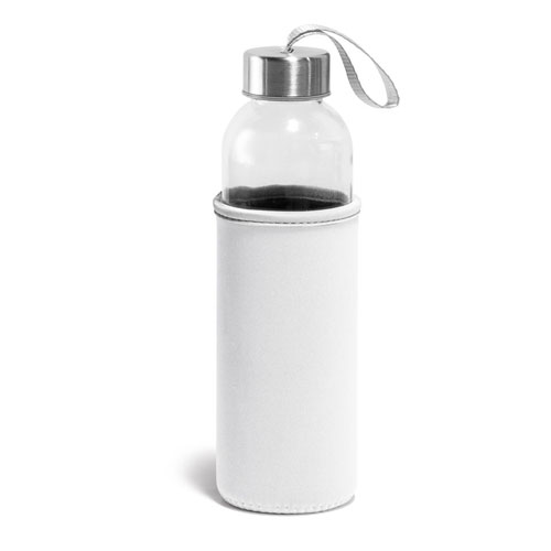 Borraccia Glassy, borraccia in vetro con fascia protettiva disponibile neutra o personalizzata, colore bianco
