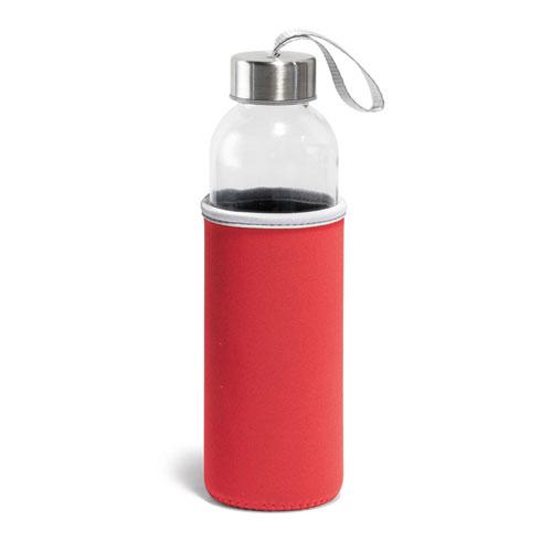 Borraccia Glassy, borraccia in vetro con fascia protettiva disponibile neutra o personalizzata, colore rosso