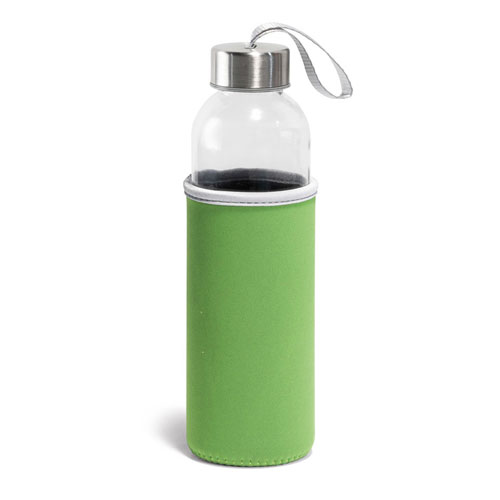 Borraccia Glassy, borraccia in vetro con fascia protettiva disponibile neutra o personalizzata, colore verde
