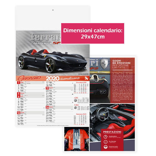 Calendario personalizzato o neutro con foto di auto sportive, Calendario auto 2020, dimensioni