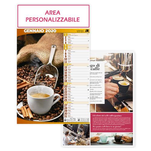 Calendario personalizzato o neutro con foto caffè e dolci, Calendario caffè 2020, area di stampa