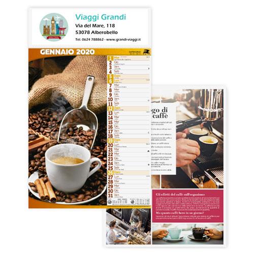 Calendario personalizzato o neutro con foto caffè e dolci, Calendario caffè 2020, mockup viaggi grandi