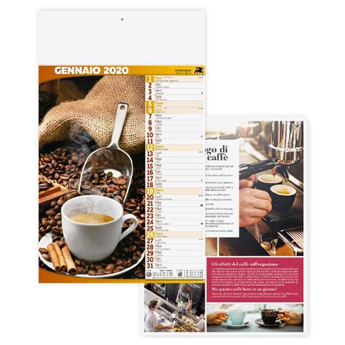 Calendario personalizzato o neutro con foto caffè e dolci, Calendario caffè 2020, neutro