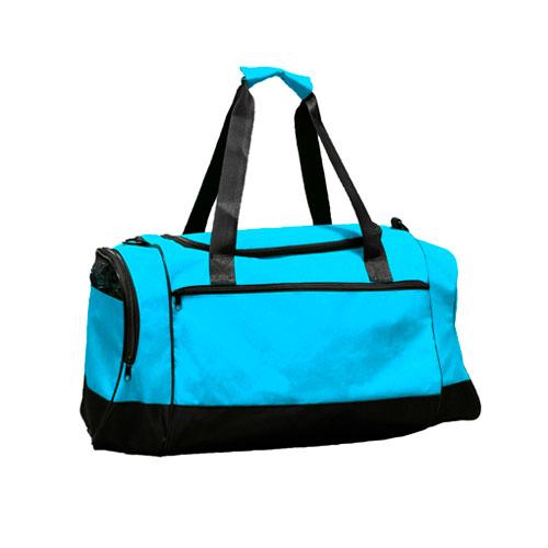 Borsone sportivo Middle, borsone in poliestere disponibile neutro o personalizzato, colore azzurro