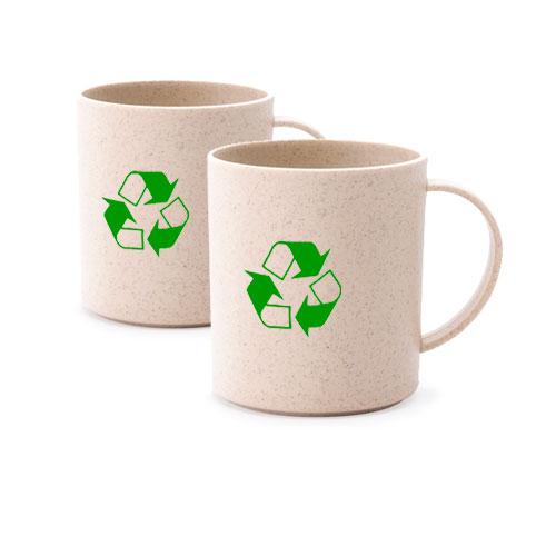 Tazza personalizzata in fibra di bambù Eco, disponibile neutra o personalizzata in serigrafia, colore naturale