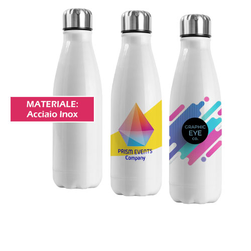 Borraccia Bottle Subli, borraccia a forma bottiglia disponibile neutra o personalizzata in quadricromia, cover
