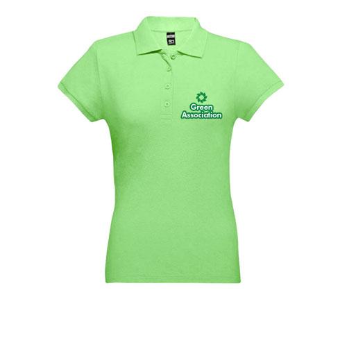 polo cotone donna, polo con stampa logo green in verde chiaro