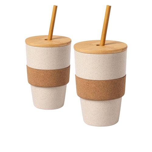 Bicchiere riutilizzabile Straw, prodotto riciclato disponibile neutro o personalizzabile, cover