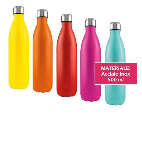 Borraccia termica Steel 500, borraccia termica a forma di bottiglia in acciaio inox, neutra o personalizzata, cover