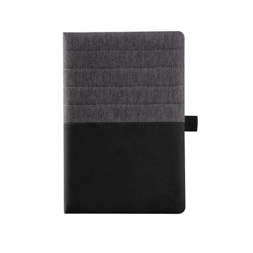 Agendina Double personalizzata A5, blocco a righe in similpelle, colore nero