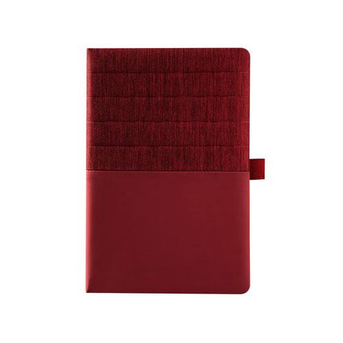 Agendina Double personalizzata A5, blocco a righe in similpelle, colore rosso