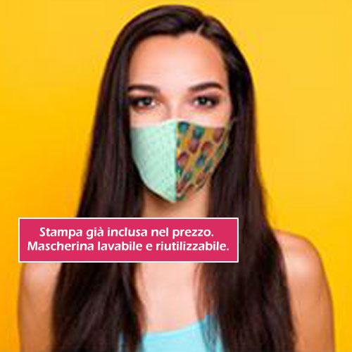 Mascherina stampata color, personalizzata in quadricromia