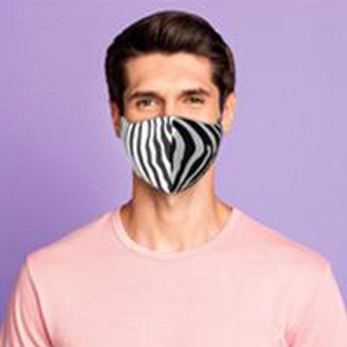 Mascherina stampata color, personalizzata in quadricromia, uomo, zebrato