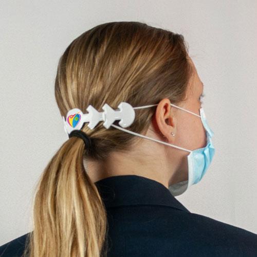 Fascia per mascherina confort, personalizzata, vista retro