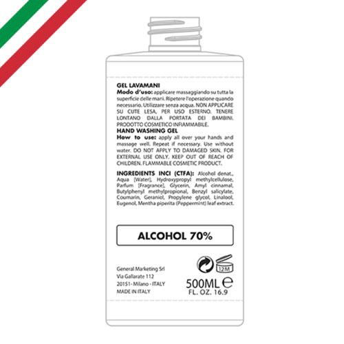 Gel igienizzante 500, gel igienizzante mani flacone, etichetta retro