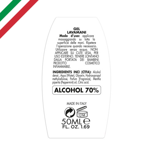 Gel igienizzante mani 50 ml, alcohol 70%, personalizzato, made in italy, etichetta